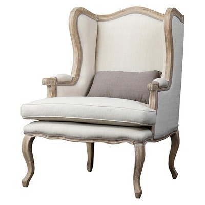 Beau Auvergne Wood Traditional French Accent Chair   Baxton Studio