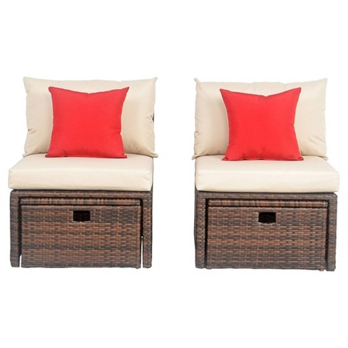 Telford 4pc All-Weather Wicker Patio Sette & Storage Ottoman - Brown/Tan/Red - Safavieh - image 1 of 4