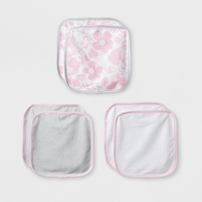Baby Girls' Blushing Pink 6pk Washcloths - Cloud Island™ Pink/Gray