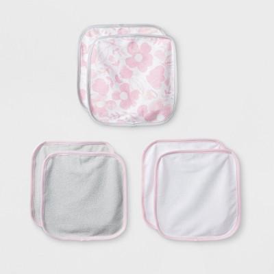 Baby Girls' Blushing Pink 6pk Washcloths - Cloud Island™ Pink/Gray