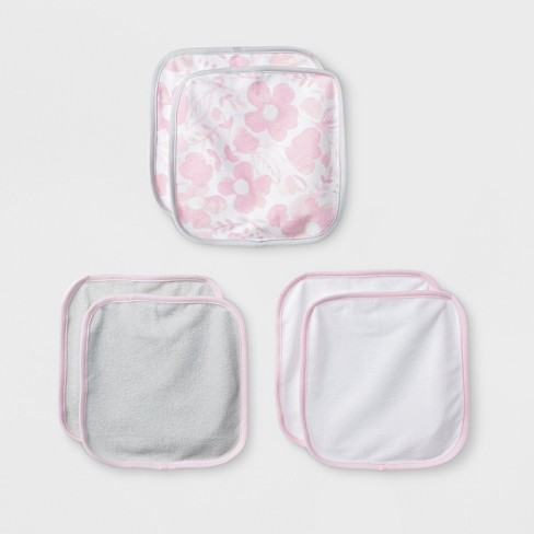 Baby Girls' Blushing Pink 6pk Washcloths - Cloud Island™ Pink/Gray - image 1 of 1
