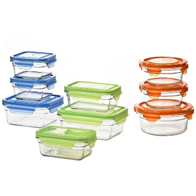 Glasslock Reusable Food Storage Container Set with Locking Lids for Leftovers and Meal Prepping, Oven & Freezer Safe, 18 Piece Set