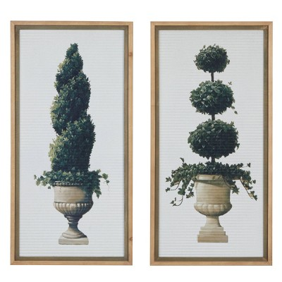 "(Set of 2) 20"" x 40"" Tall Rectangular Botanical Wood Framed Wall Decor - Olivia & May"