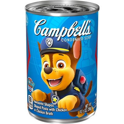 Campbell's Condensed Kids Soup, Nickelodeon Paw Patrol, Puppy- shaped pasta in chicken soup, 10.5oz Can