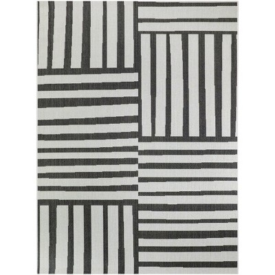 5'x7' Mod Directional Lines Outdoor Rug Black - Project 62™