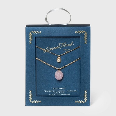 Semi-Precious Rose Quartz Pendant with Recycled Metal Layered Necklace - Universal Thread™ Pink