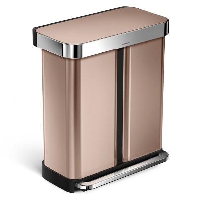 simplehuman 58L Dual Compartment Rectangular Step Trash Can Rose Gold
