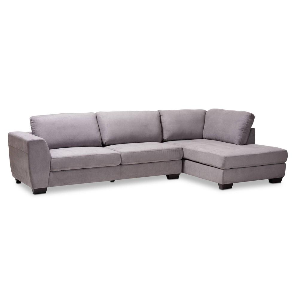 Magnificent Petra Right Facing Sectional Sofa Gray Baxton Studio Uwap Interior Chair Design Uwaporg