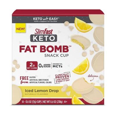 SlimFast Keto Fat Bomb Snack Cup - Iced Lemon Drop - 14ct