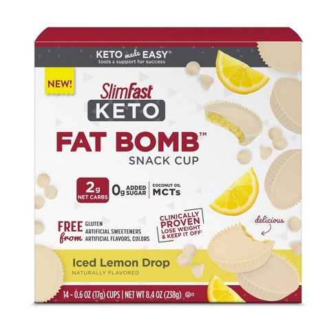 SlimFast Keto Fat Bomb Snack Cup - Iced Lemon Drop - 14ct - image 1 of 3