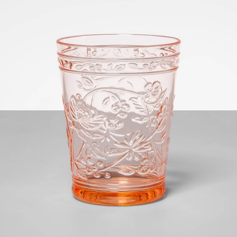 16oz Plastic Floral Embossed Short Tumbler Pink - Opalhouse™ - image 1 of 2