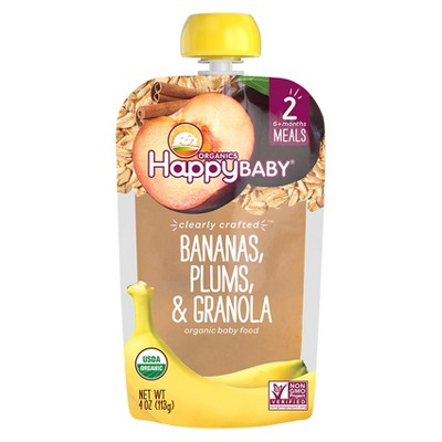 Happy Baby Clearly Crafted, Bananas Plums & Granola - 4oz