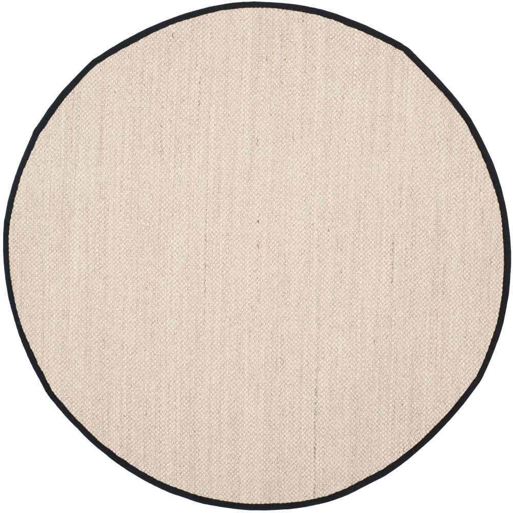 4' Solid Loomed Round Area Rug Marble/Black - Safavieh