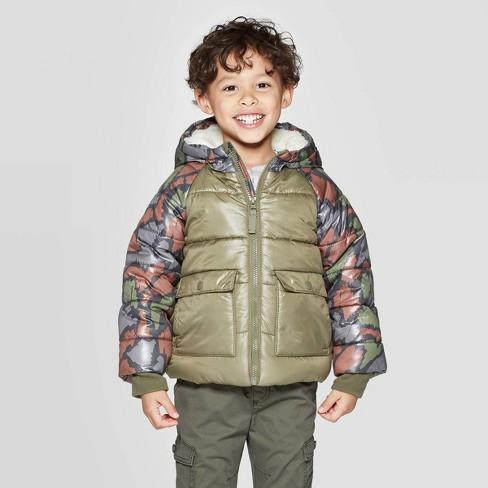 Toddler Boys' Puffer Jacket - Cat & Jack™ Green - image 1 of 3