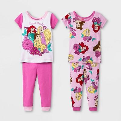Baby Girls' 4pc Disney Princess Pajama Set - Pink 18M