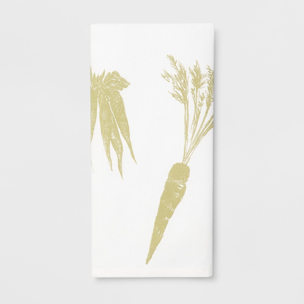 "Image of ""28""""x18"""" Veggies Flat Weave Kitchen Towel White - Threshold , White Green"""