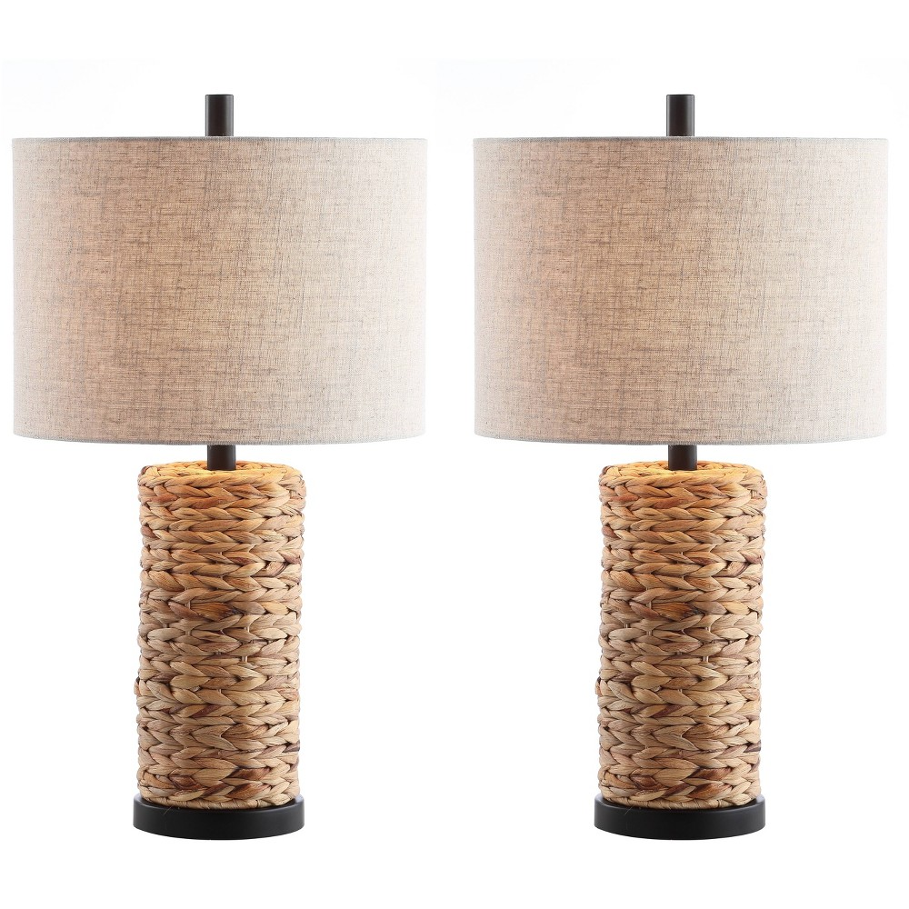 (Set of 2) 25 Elicia Sea Grass Led Table Lamp Natural (Includes Energy Efficient Light Bulb) - Jonathan Y