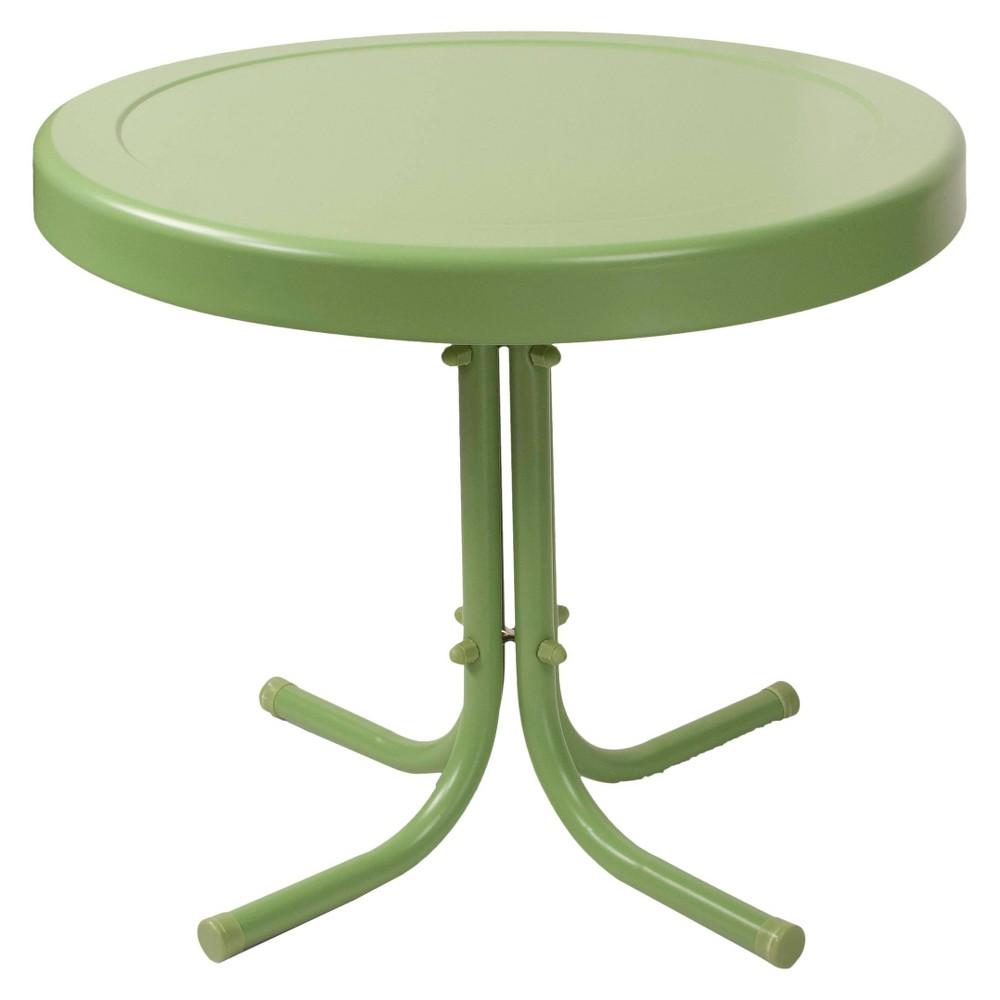 Crosley Retro Metal Patio Side Table In Oasis Green
