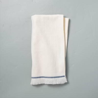 Textured Border Stitch Hand Towel Sour Cream/Faded Blue - Hearth & Hand™ with Magnolia