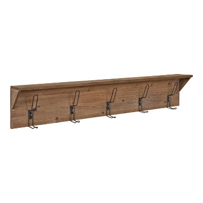 5 Hooks Coburn Wood Wall Shelf - Kate & Laurel All Things Decor