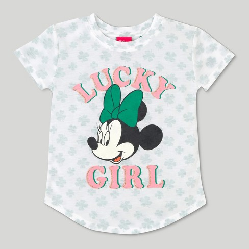 Toddler Girls' Disney Mickey Mouse & Friends Minnie Mouse Short Sleeve Lucky T-Shirt - Ivory 4T - image 1 of 2