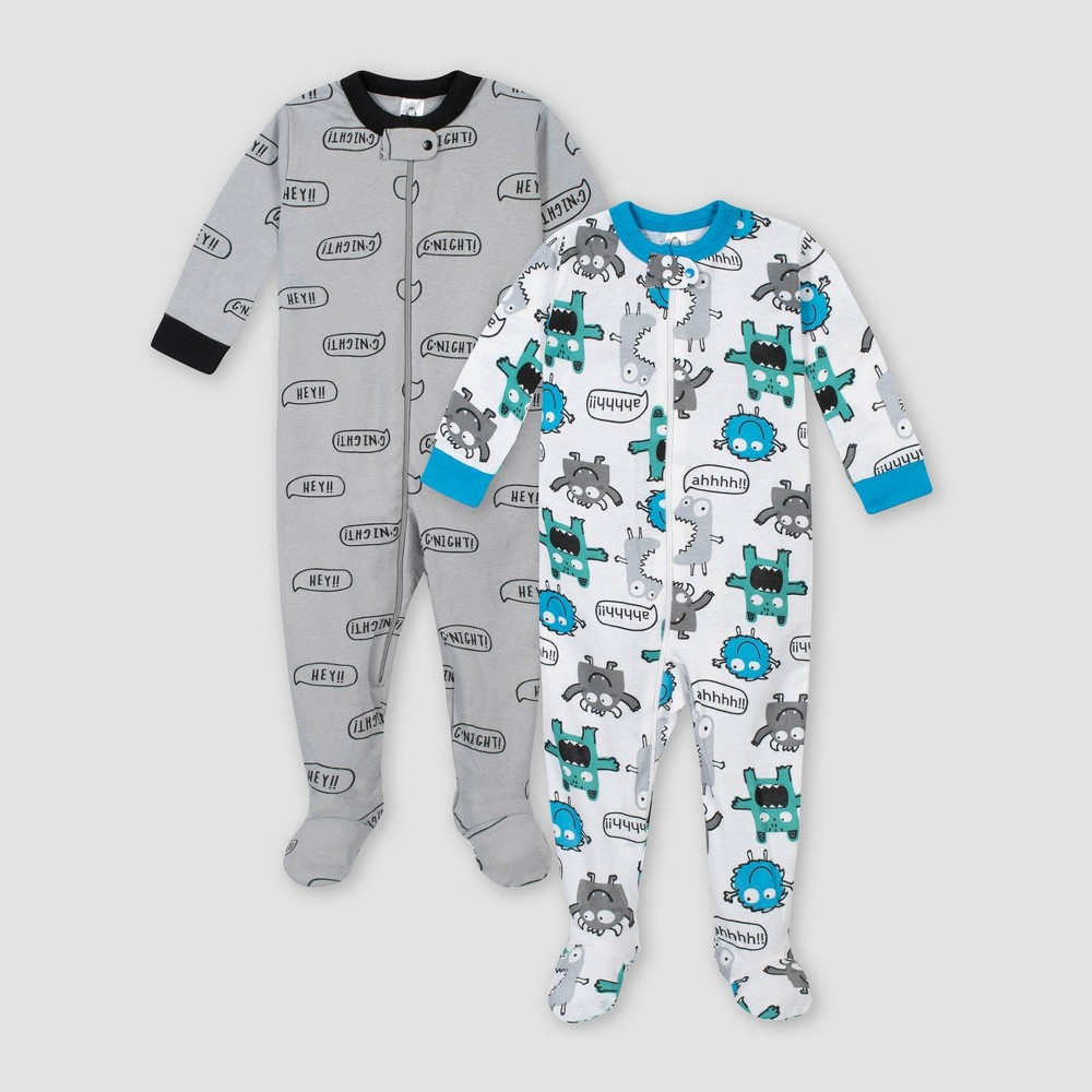 Image of Gerber Baby Boys' 2pk Monster 100% Cotton Footed Unionsuit - Gray/Blue/White 9M, Boy's, Gray White