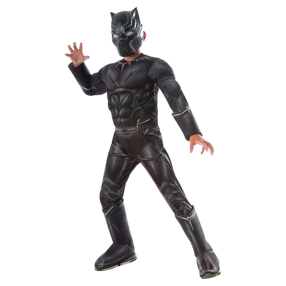 Boys' Captain America: Civil War: Deluxe Black Panther Costume Medium, Multicolored