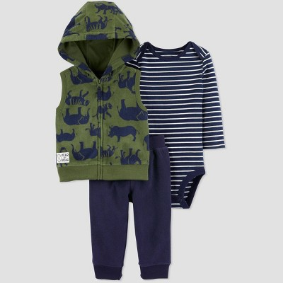 Baby Boys' 3pc Vest Hoodie Top & Bottom Sets - Just One You® made by carter's Navy/Olive 9M