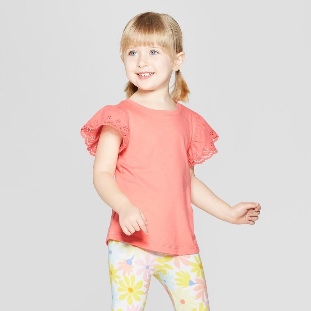 Toddler Girls' Cap Sleeve T-Shirt - Cat & Jack Peach 4T, Pink