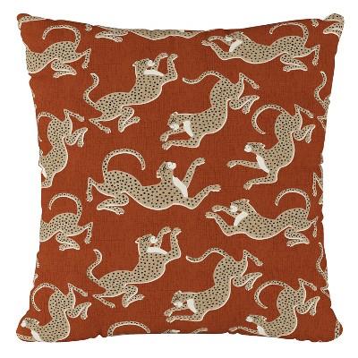 Orange Leopard Print Throw Pillow - Cloth & Co