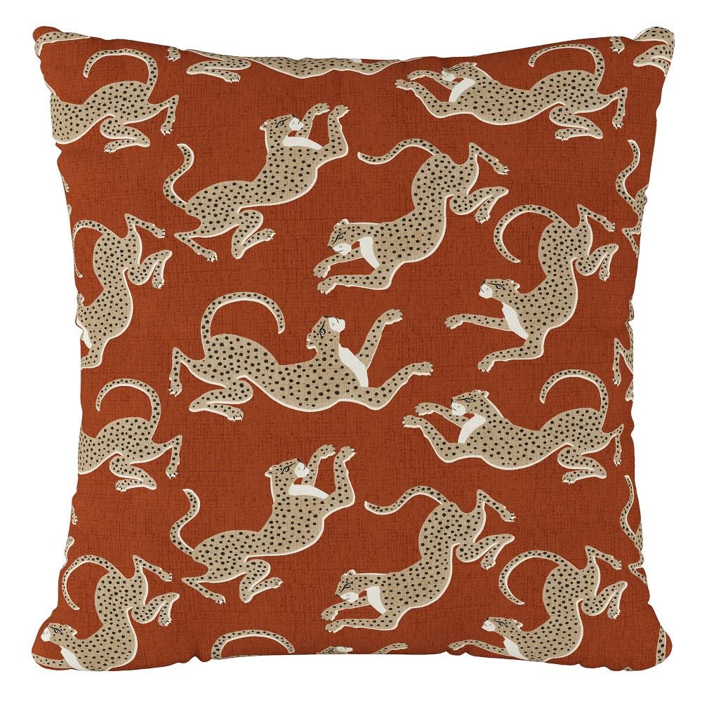 Orange Leopard Print Throw Pillow - Cloth & Co, Leopard Run Burnt Orange