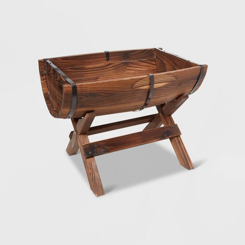15 Wooden Novelty Half Barrel Planter With Stand Brown Gardenised