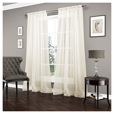 Window Sheer Vue Signature Ivory Solid Curtain Panel