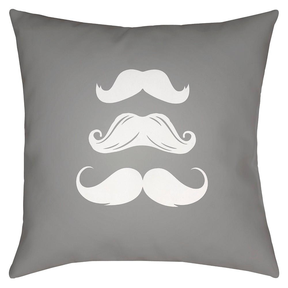 Gray Moustaches Throw Pillow 18