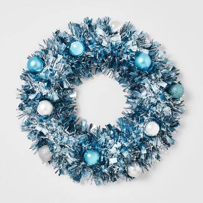 16in Tinsel Wreath with Shatterproof Ornaments Blue - Wondershop™