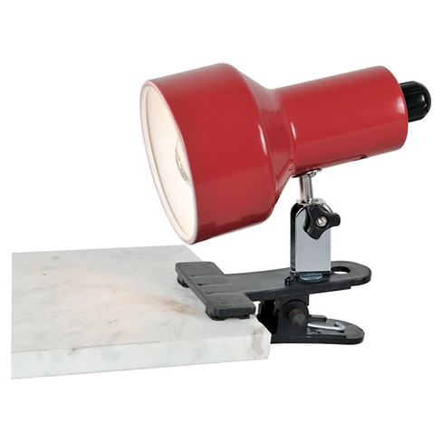 Lite Source Clip-On II 1 Light Table Lamp with Red Shade - Black - image 1 of 1