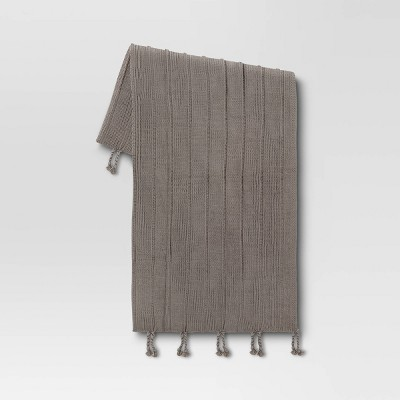 "50""x60"" Braided Tassel Knit Throw Blanket Gray - Threshold™"