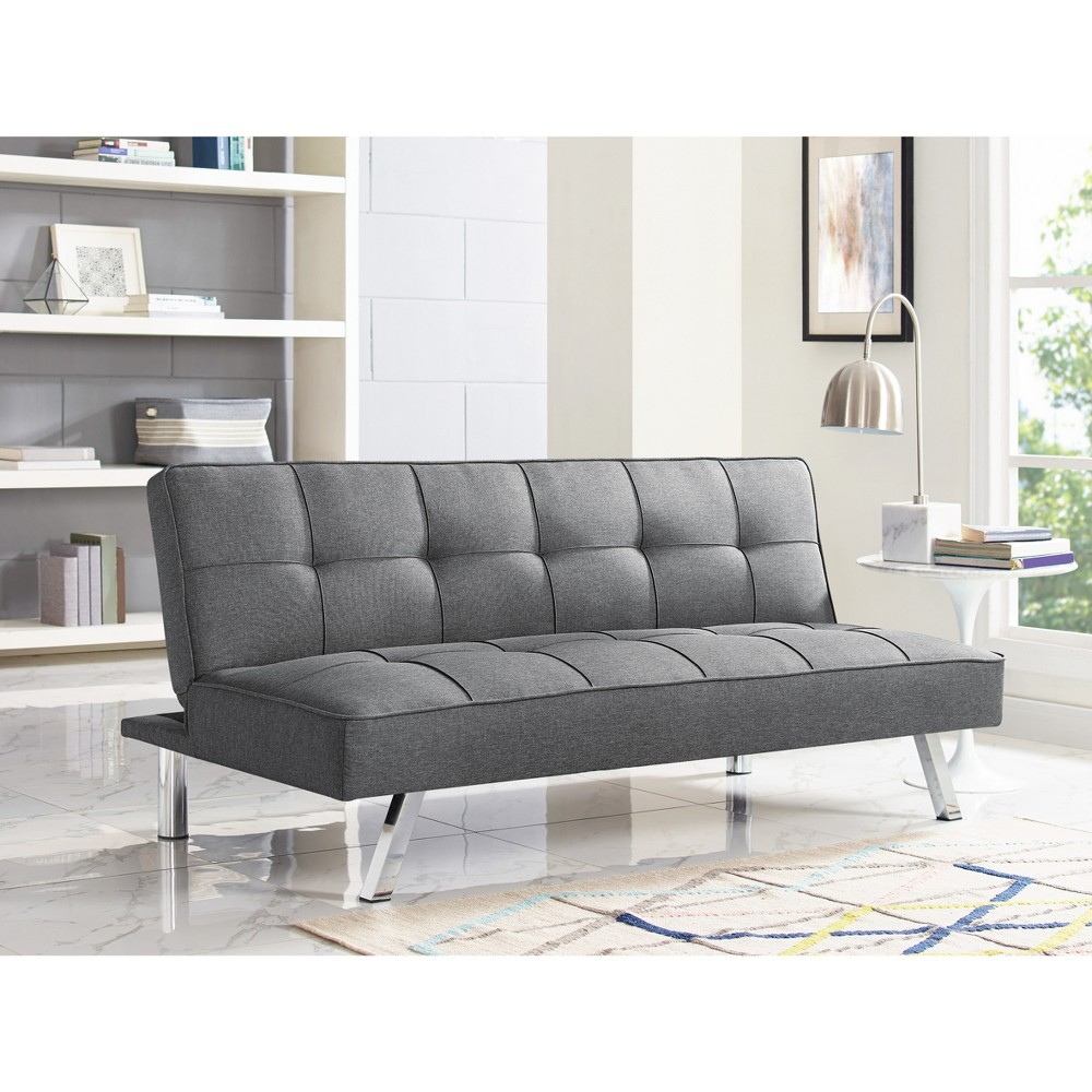 Chelsea Tufted Convertible Sofa in Light Gray - Relax A Lounger