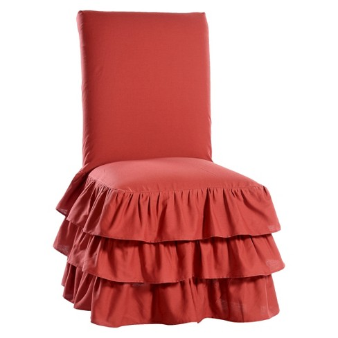 Fantastic Ruffle 3 Tiered Dining Chair Slipcover Beatyapartments Chair Design Images Beatyapartmentscom