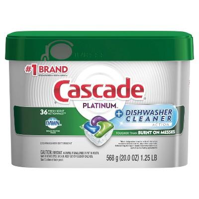Cascade Platinum Dishwasher Detergent ActionPacs + Cleaner - Fresh Scent