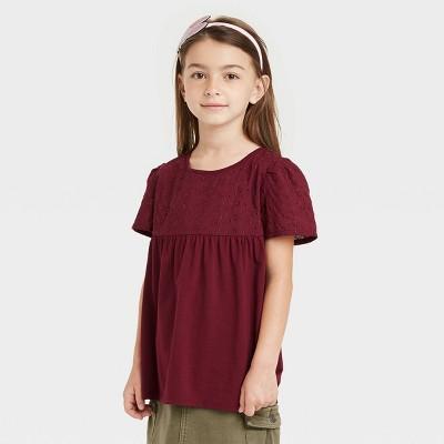Girls' Eyelet Short Sleeve T-Shirt - Cat & Jack™