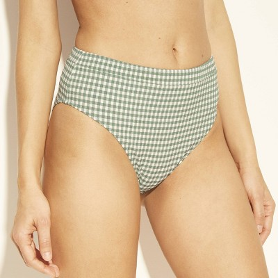 Women's Paradise High Waist High Leg Seersucker Bikini Bottom   Shade &Amp; Shore Sage Gingham by Shade & Shore Sage Gingham