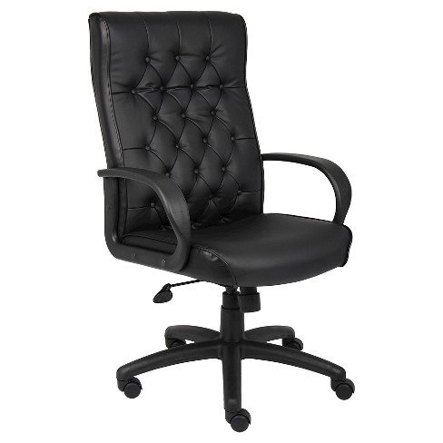 Button Tufted Executive Chair with Knee Tilt Black - Boss Office Products - image 1 of 2
