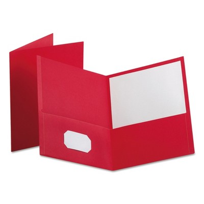 """Oxford Leatherette Two Pocket Portfolio, 8 1/2"""" x 11"""", Red, 100 Sheets,10/PK 57581EE"""