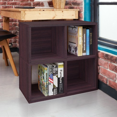 Under Desk Storage 4 Cubby Bookshelf Eco Friendly And Formaldehyde Free Espresso