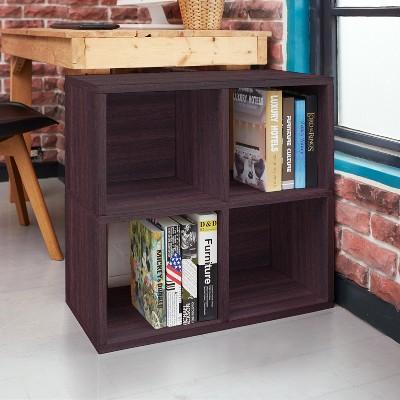 Under Desk Storage, 4 Cubby Bookshelf, Eco Friendly And Formaldehyde Free,  Espresso   Lifetime Guarantee