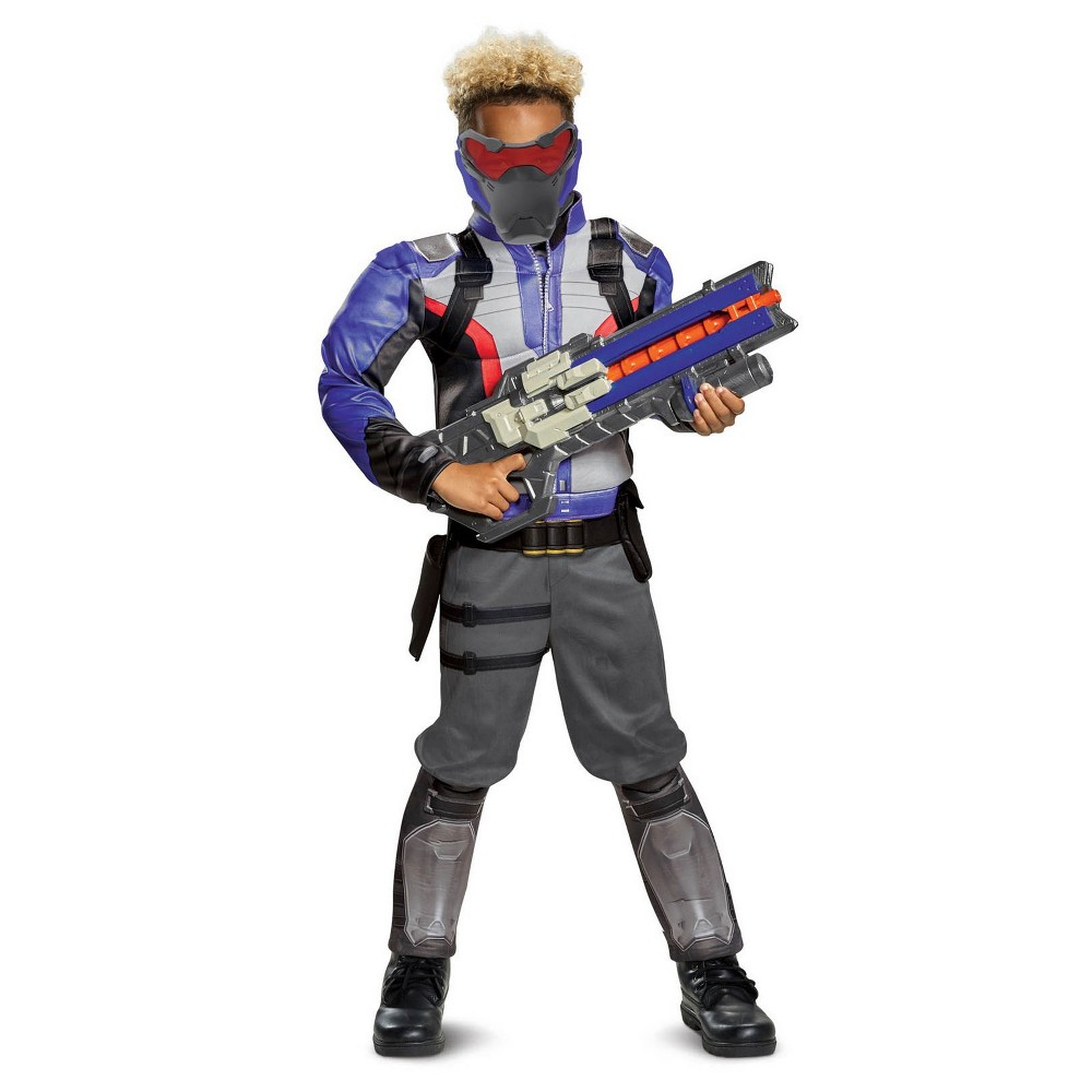 Image of Halloween Boys' Overwatch Soldier 76 Classic Muscle Halloween Costume L, Boy's, Size: Large, MultiColored
