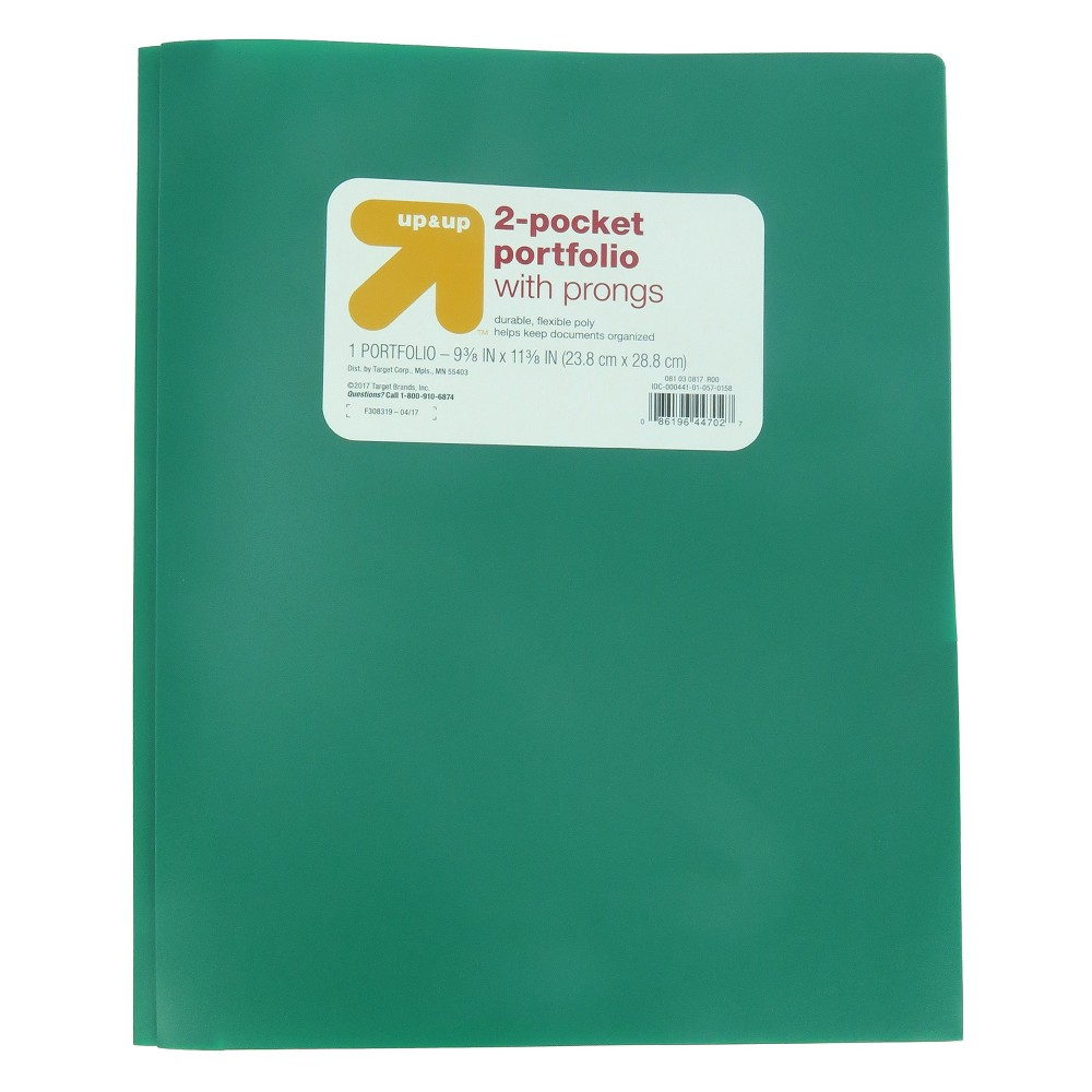 2 Pocket Plastic Folder with Prongs Green - Up&Up was $0.75 now $0.5 (33.0% off)