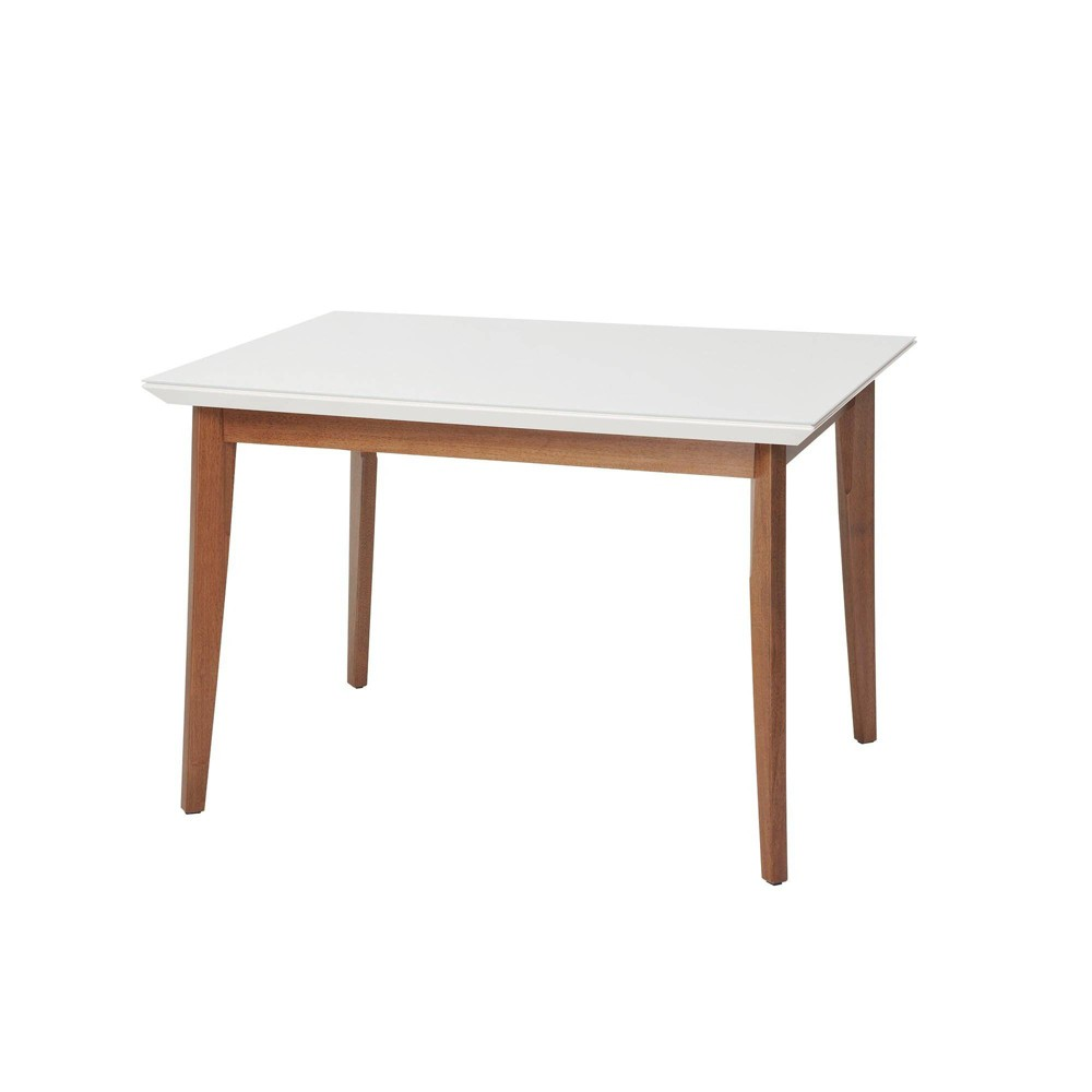 45.66 Lillian Natural Wood Modern Glass Top Dining Table with Solid Wood Legs Gloss White - Manhattan Comfort