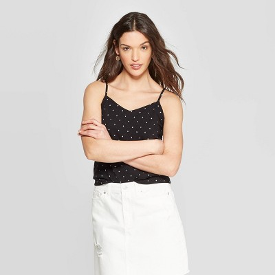 Women's Sleeveless V Neck Cross Back Cami   Universal Thread Black by Neck Cross Back Cami